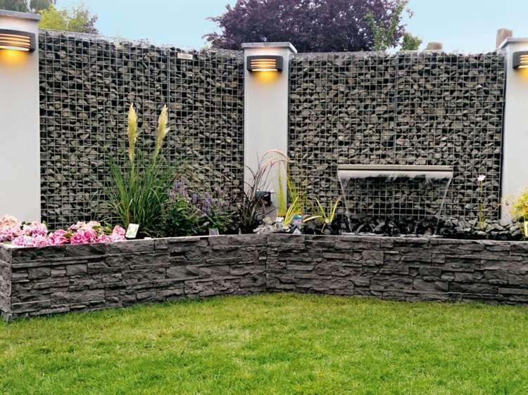 esquina jardin diseño moderno gavion