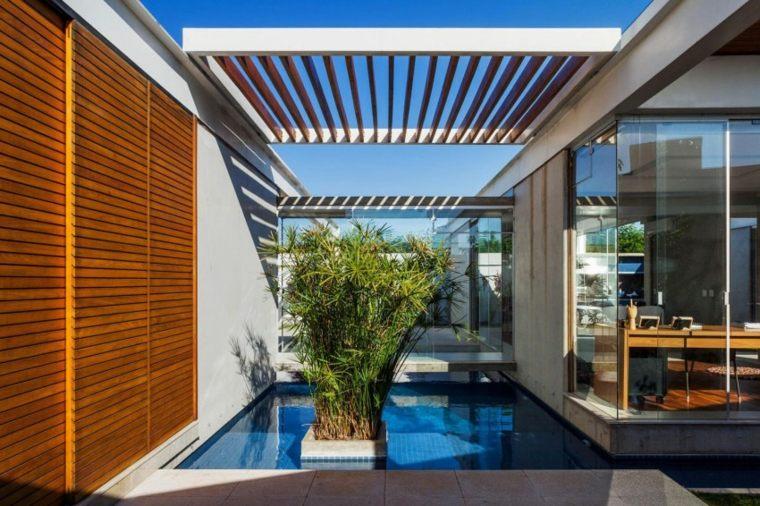 estanque jardin pergola madera moderna ideas