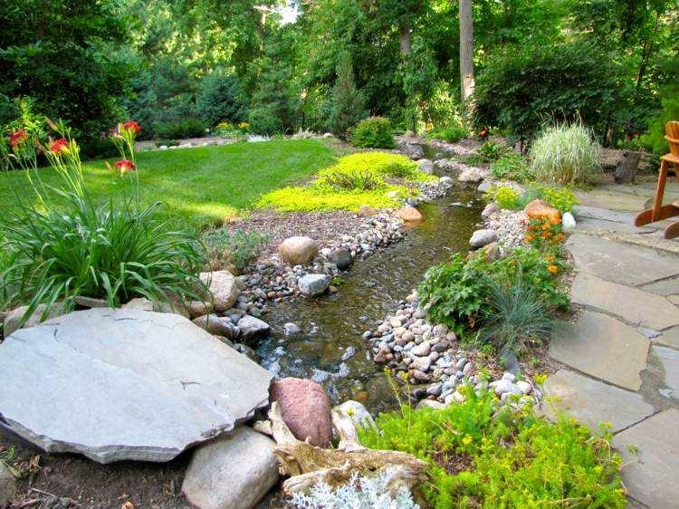 estanque jardin plantas camino cesped ideas