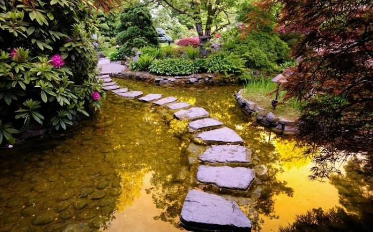 estanques jardin camino piedras grandes ideas