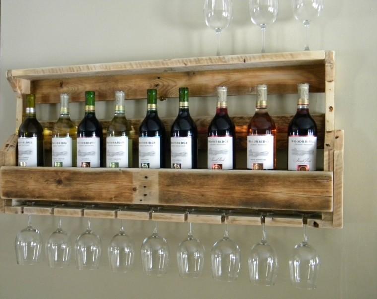 estantería palet vinos copas