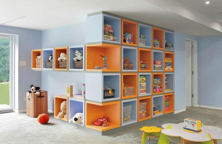 estantes infantiles cajas colores