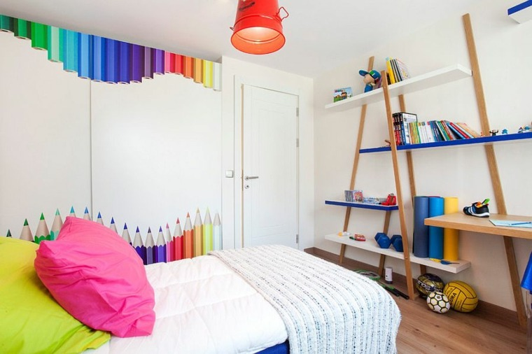diseño estantes decorativos pared colores