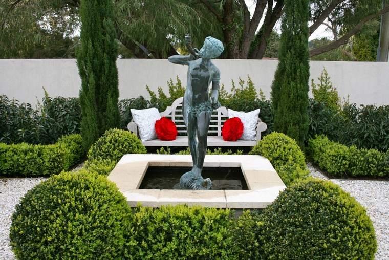 estatua jardin diseno tradicional banco blanco ideas