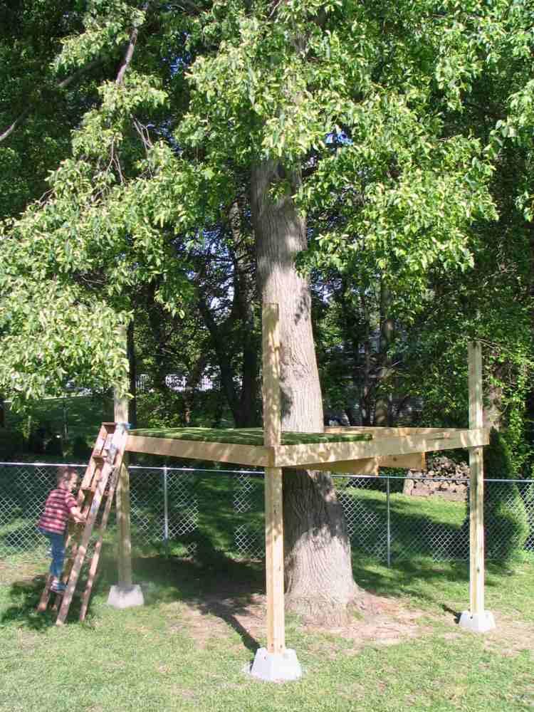 estructura madera casita arbol niños