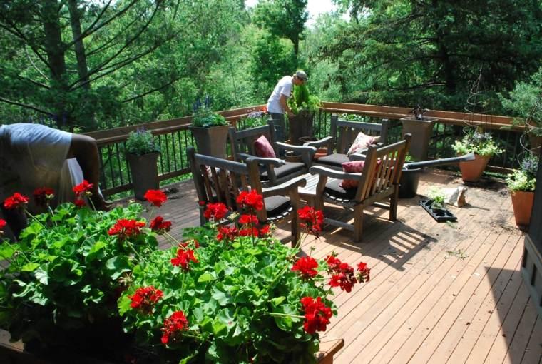 estupenda terraza flores rojas