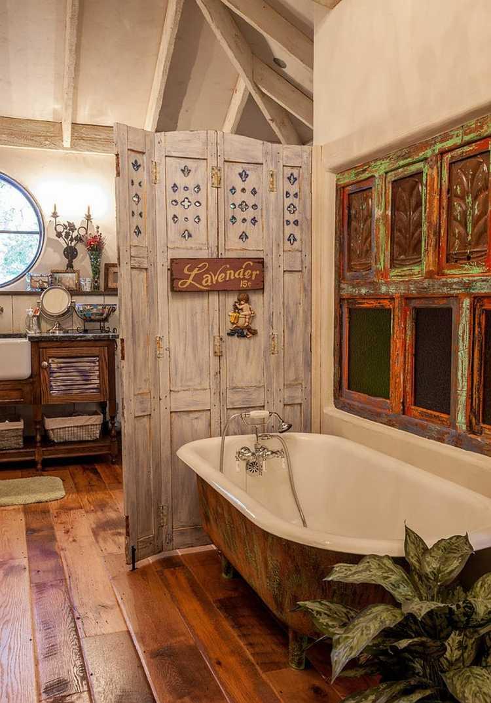 estupendo diseño baño rustico