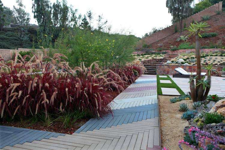 Jardines modernos con terrazas y gradas  50 diseños