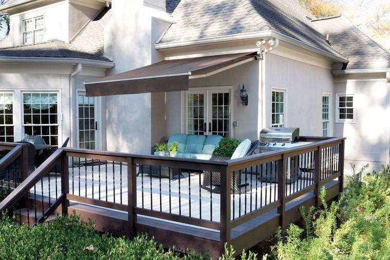 exteriores diseno moderno color gris oscuro terraza madera ideas
