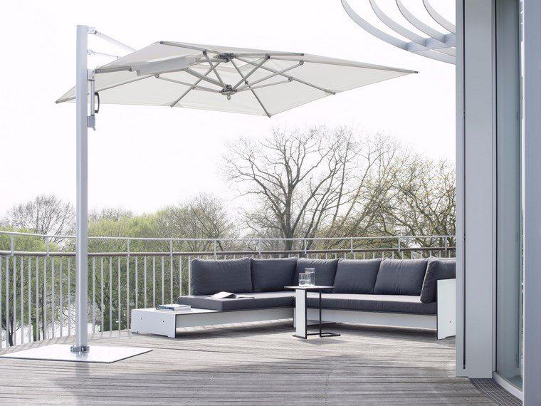 exteriores diseno moderno sofa gris sombrilla blanca ideas