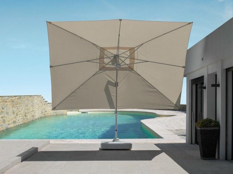 exteriores diseno moderno sombrilla blanca jardin piscina ideas