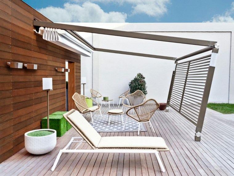 exteriores diseno moderno suelo pared madera toldo ideas