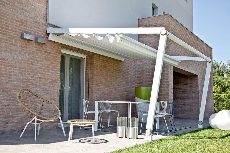 exteriores diseno moderno toldo acero toldo blanco ideas