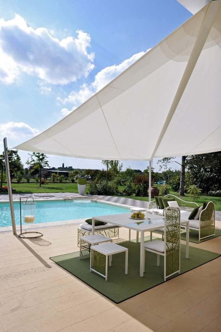 exteriores diseno moderno toldo blanco jardin piscina ideas