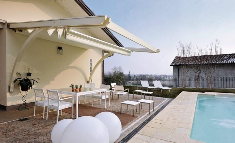 exteriores diseno moderno toldo blanco piscina ideas