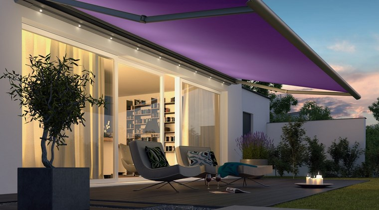 exteriores diseno moderno toldo color purpura ideas