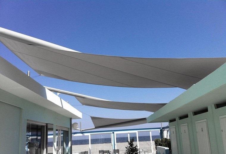 exteriores diseno moderno toldos blancos espacio amplio ideas
