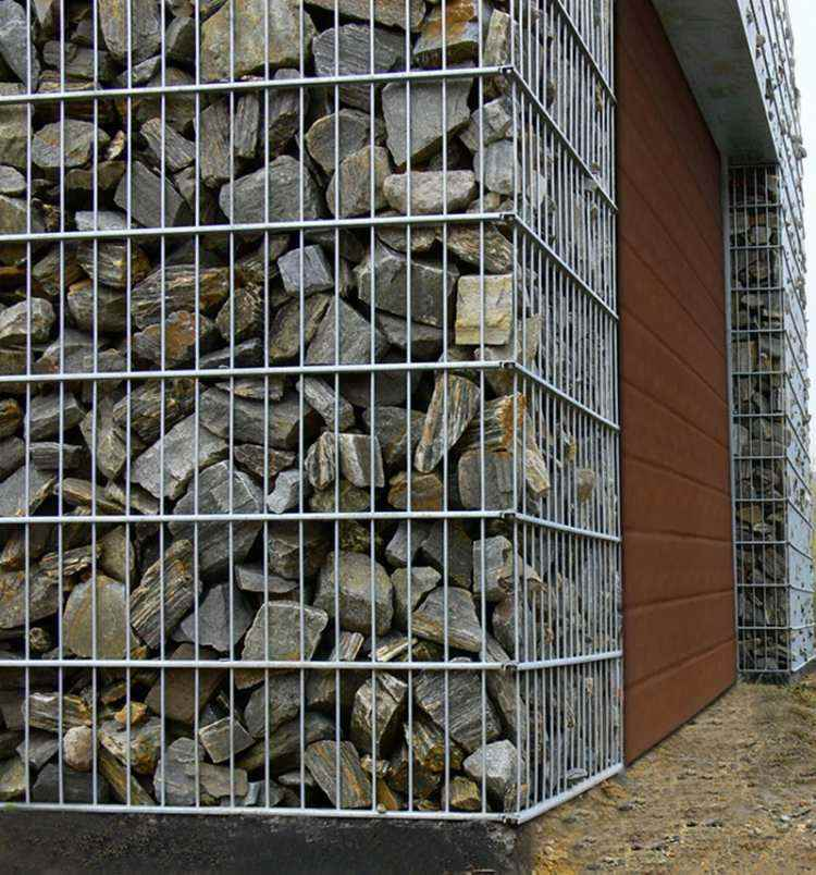 fachada muro pared gavion piedras