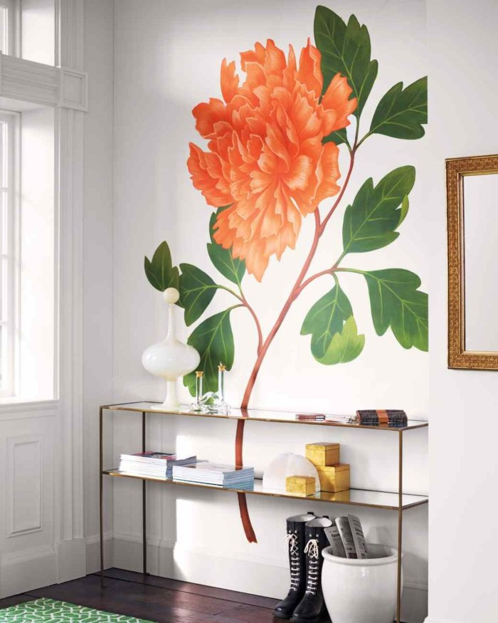 flor pintada pared blanca casa moderna ideas