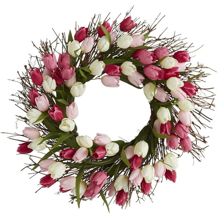 flores de primavera opciones coronas tulipanes ideas