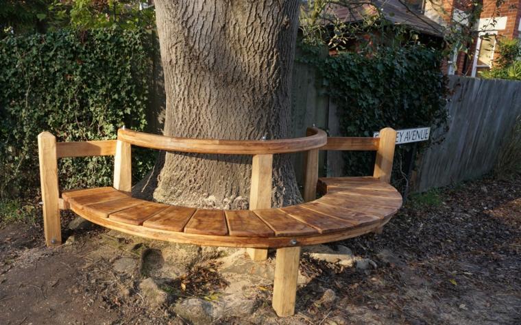 forma bancos árboles madera
