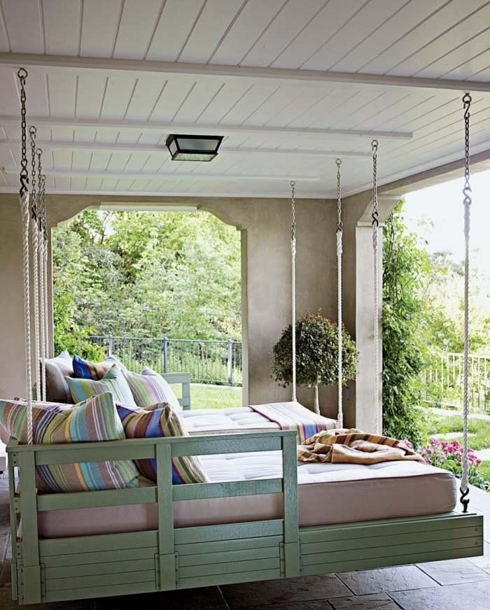 fotos verano primavera terraza camas colgantes ideas