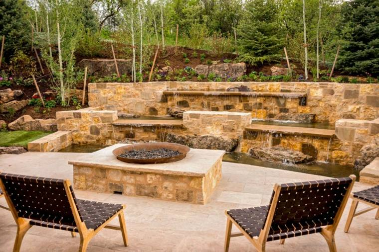 fuego agua jardin moderno ideas
