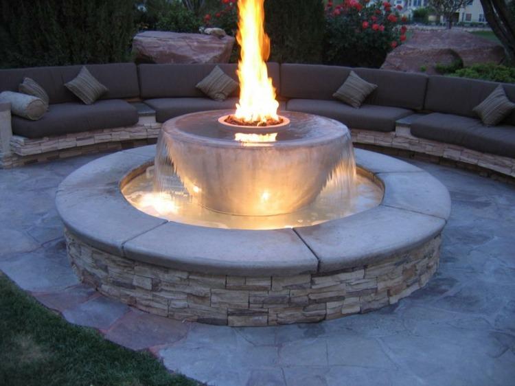 fuente agua moderna fuego combinacion ideas