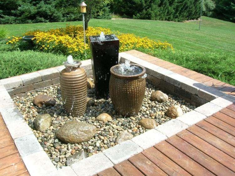 fuentes agua distintos tipos piedras ideas