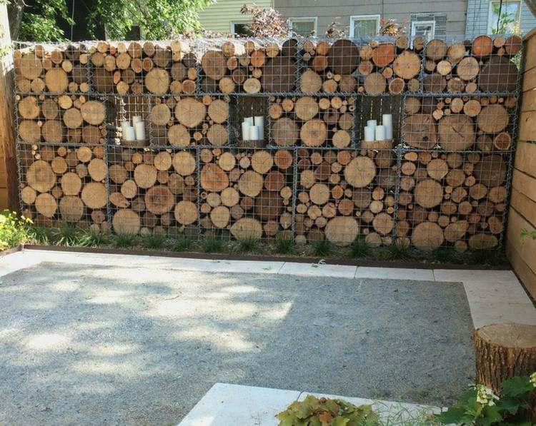 gavion de troncos madera