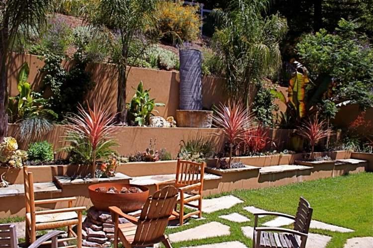 gradas jardin pozo fuego moderno