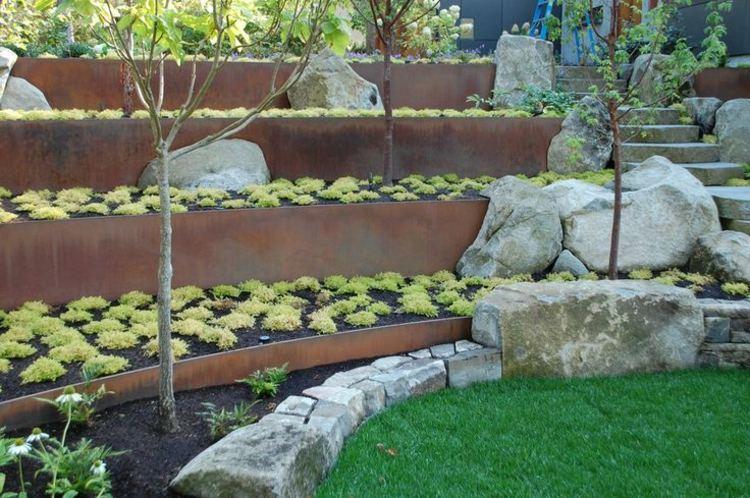 gradas muros contencion acero jardin