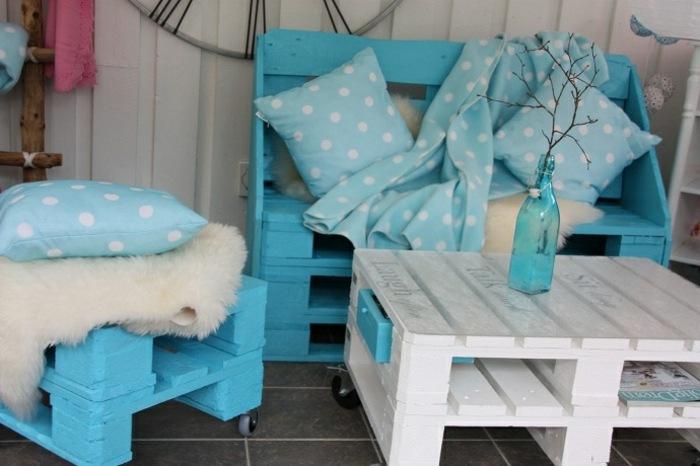 ideas creativas palets opciones jardin azul blanco