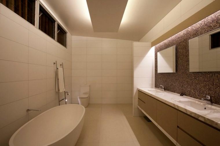 iluminacion led opciones interiores banera blanca bano ideas
