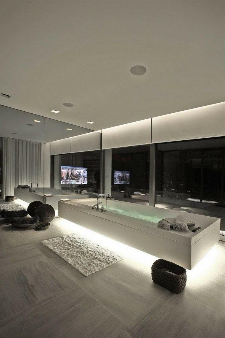 iluminacion led opciones interiores banera blanca ideas