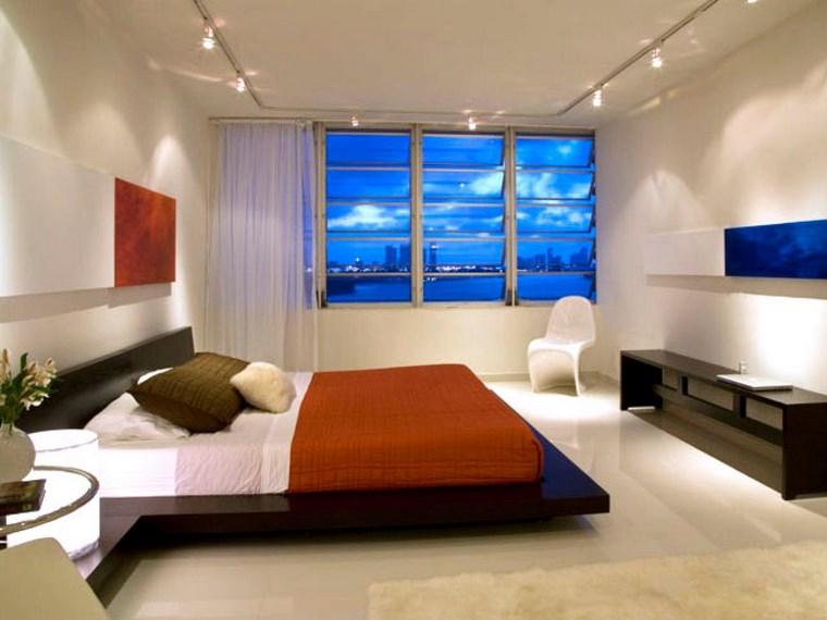 iluminacion led opciones interiores cama madera negra ideas