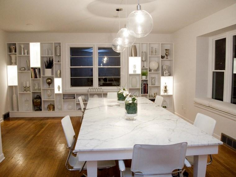 iluminacion led opciones interiores estanterias blancas comedor ideas