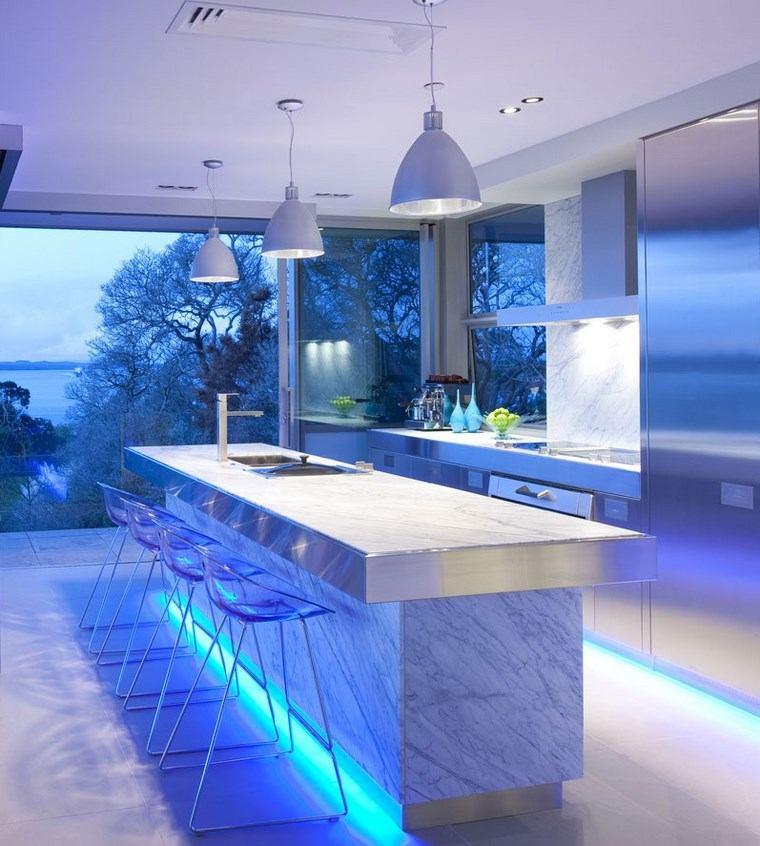 iluminacion led opciones interiores isla marmol ideas