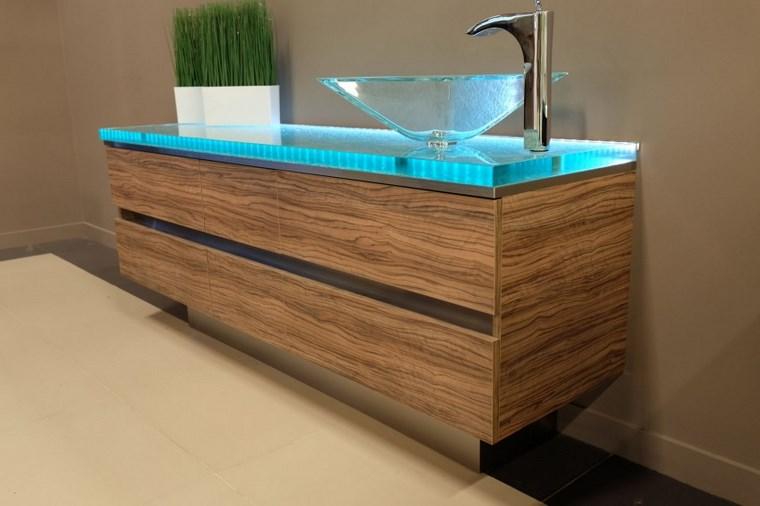 iluminacion led opciones interiores lavabo madera cristal ideas