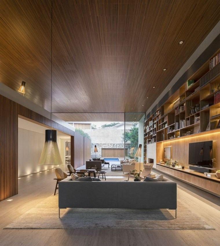 iluminacion led opciones interiores techo madera
