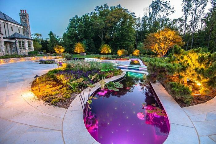illuminated houses led warm ponds