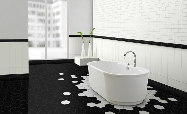 imagenes banos losas hexagonales minimalista idea