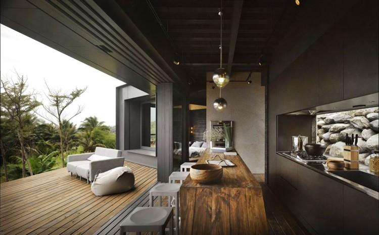 interior sala comedor terraza moderna