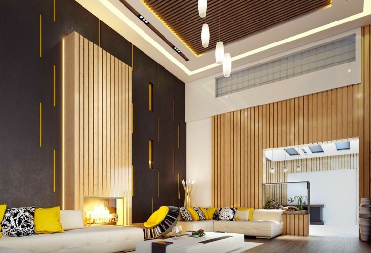 interior salon lujoso accentos amarillo ideas