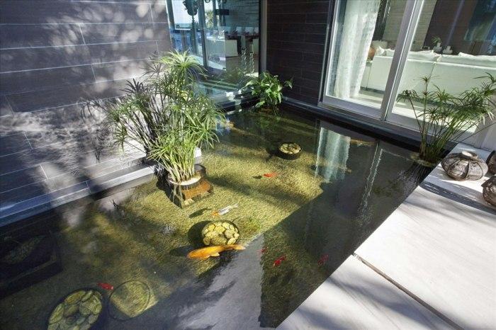El agua en los dise os de estanques para interiores y for Peces para fuente exterior