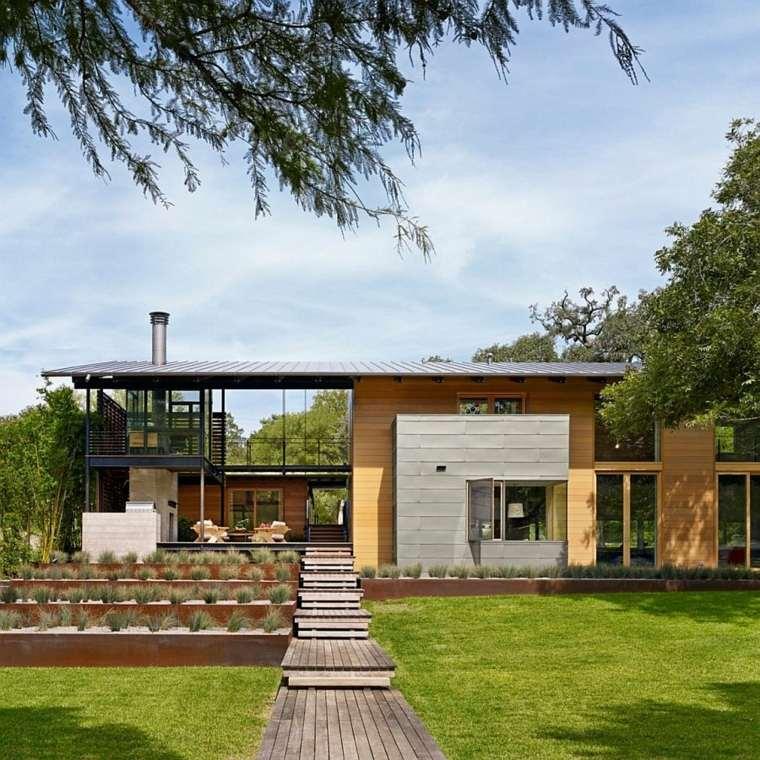 jardin aterrazado terrazas plantas acero corten ideas