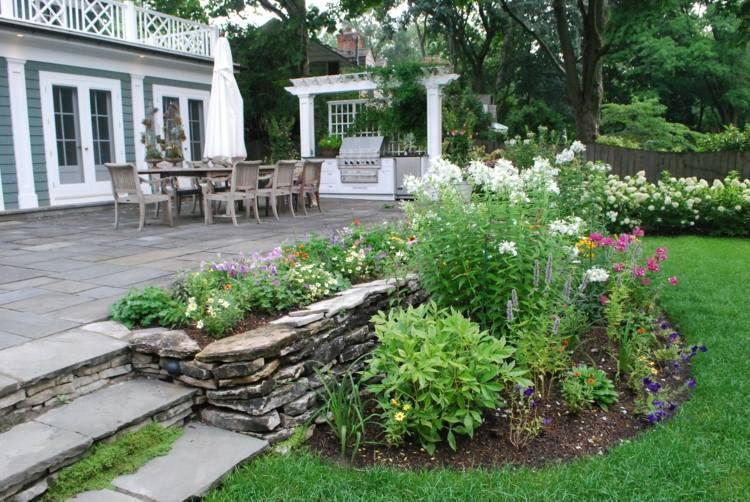 jardin bonito terraza piedras