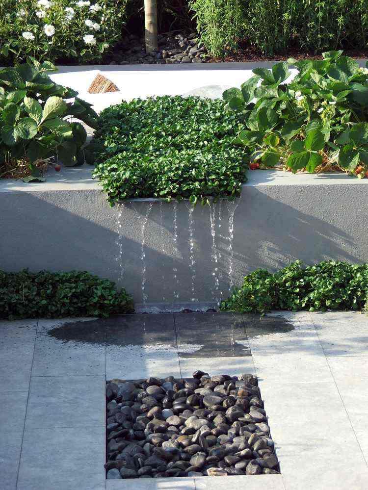 jardin caida agua baldos pulidos plantas ideas