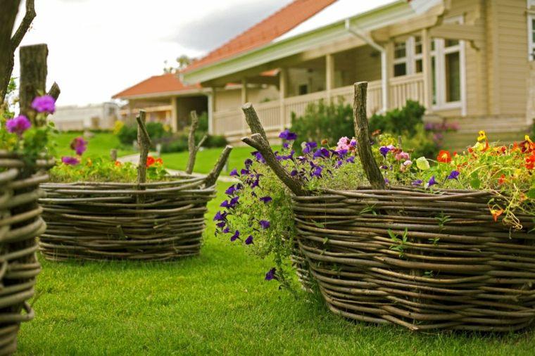 jardin ceped canastas tejidas ramas maceteras ideas