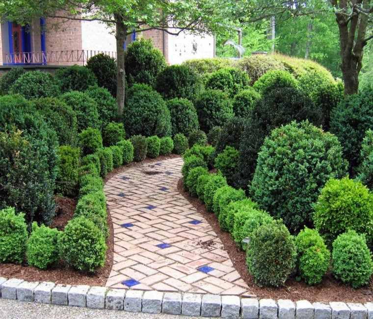 jardin clasico camino losas plantas ideas